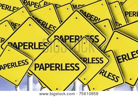 Paperless written on multiple road sign