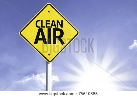 Clean Air road sign with sun background