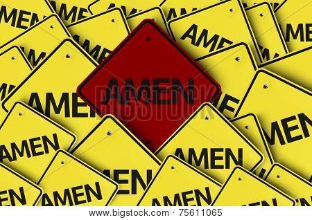 Amen written on multiple road sign