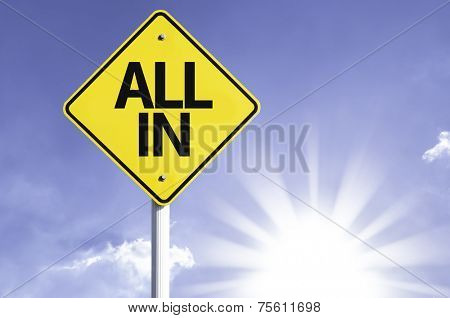 All In road sign with sun background