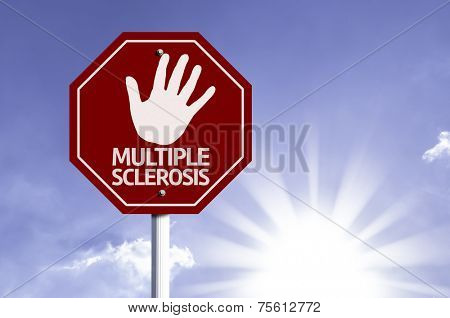 Stop Multiple Sclerosis red sign with sun background