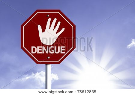 Stop Dengue red sign with sun background