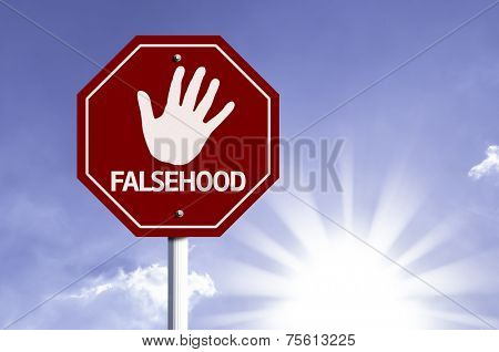 Stop Falsehood red sign with sun background