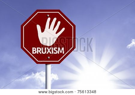 Stop Bruxism red sign with sun background