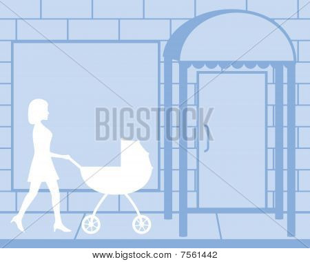 Mother Pushing Carriage Silhouette