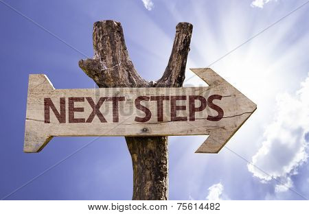 Next Steps wooden sign on a beautiful day