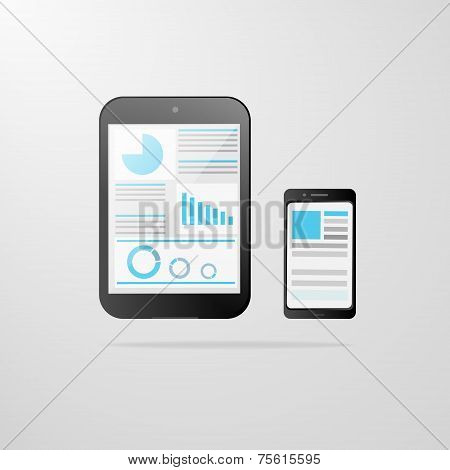tablet computer cell phone icon graph vector illustration