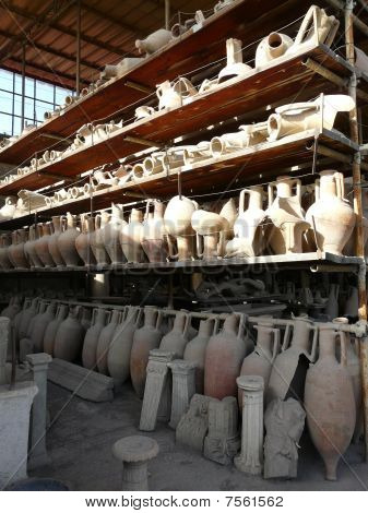 Amphorae (storage jars) at the ancient Roman city of Pompeii