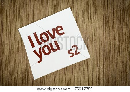I Love You on Paper Note on texture background