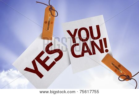 Yes You Can on Paper Note on sky background