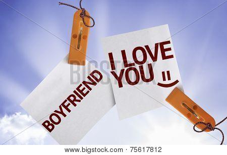 Boyfriend I Love You on Paper Note on sky background