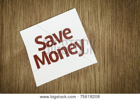 Save Money on Paper Note on texture background