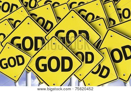 God written on multiple road sign