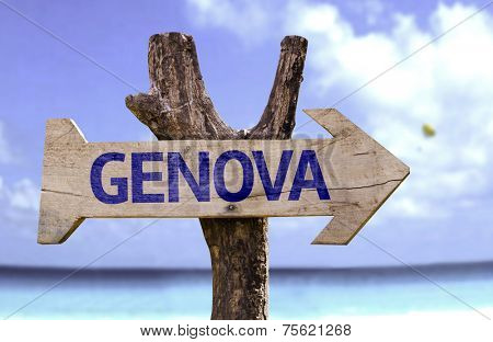 Genoa (In Italian) wooden sign with a beach on background