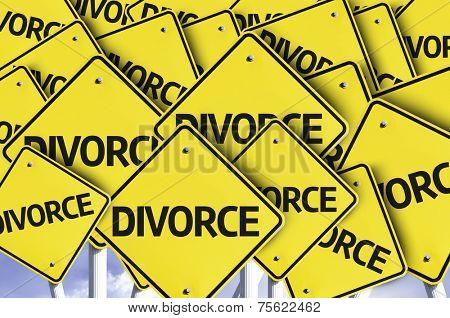 Divorce written on multiple road sign