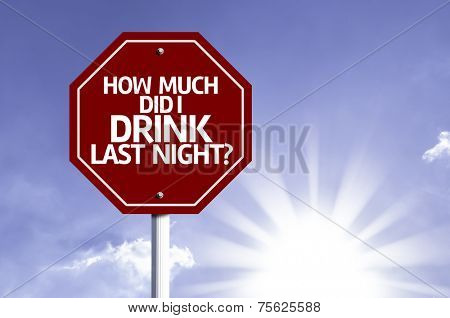How Much Did I Drink Last Night? written on red road sign with a sky background