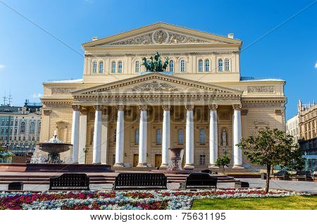 Bolshoi theatre in Moscow - Russia. Summer scene poster