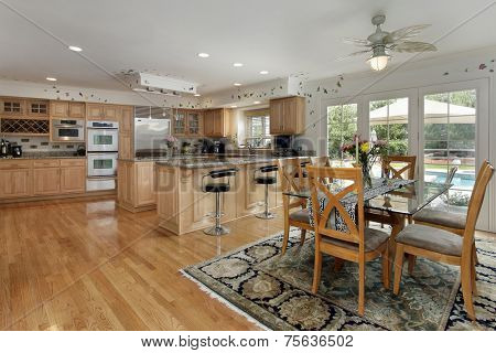 Kitchen with eating area and view of swimming pool