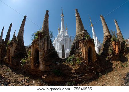 Ancient Pagodas At Inn Taing Temple Of Shan State In Myanmar.