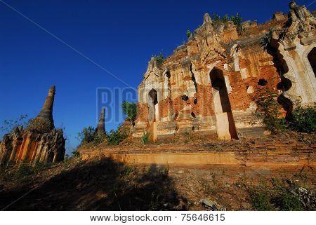 Ancient Pagodas At Shwe Inn Taing Paya Near Inle Lake Of Shan State In Myanmar.