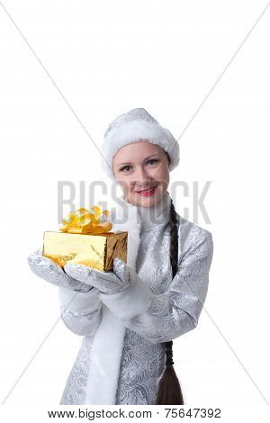 Portrait of beautiful Maiden with gift box