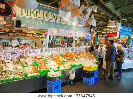 Stand At Famous Pike Place Market In Seattle