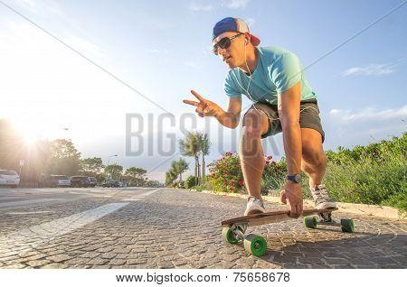 Cool Skateboarder Lonboarding