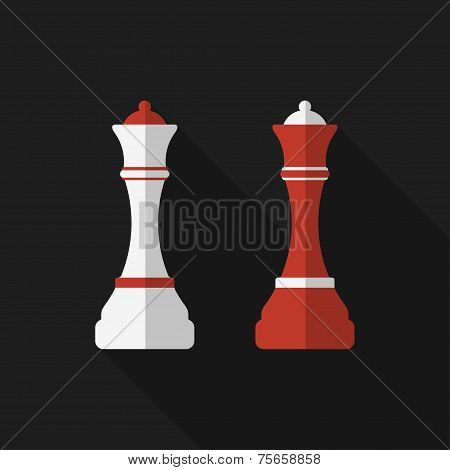 Flat chessman with long shadow. Vector icon
