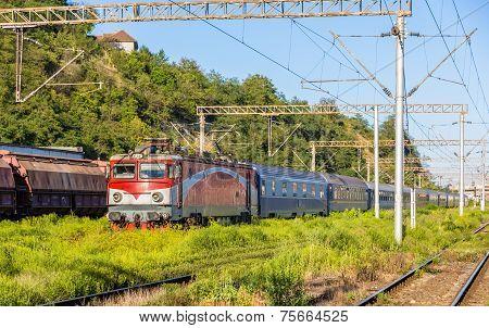 Passenger Train In Sighisoara Station - Romania