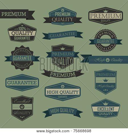 Set of vintage quality seal label