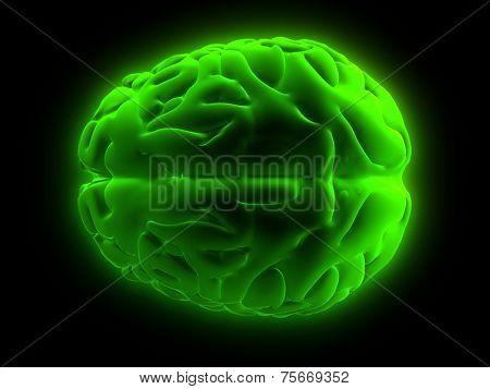 green glowing brain