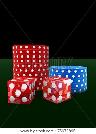 jetons and dice