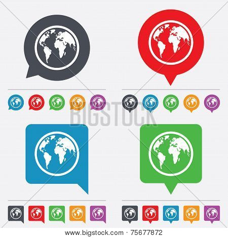 Globe sign icon. World map geography symbol. Speech bubbles information icons. 24 colored buttons. Vector poster