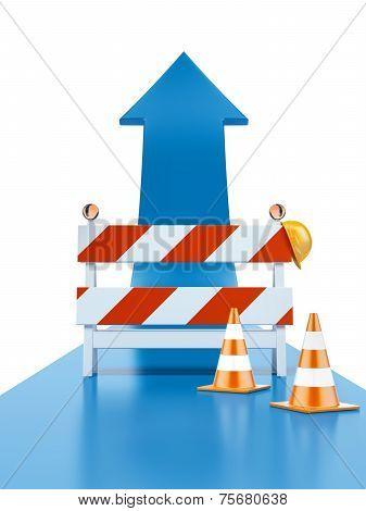 Roadblock and blue arrow