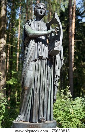 Bronze Sculpture Erato, Muse Of Lyric Poetry, Pavlovsk Park
