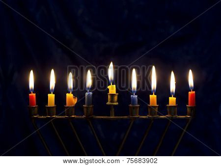 Hanukkah Menorah On A Dark Blue Background
