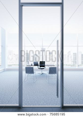 glass door to the office of chief