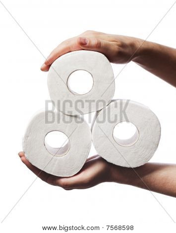 Man holding three rolls of white toiler paper in his hands poster