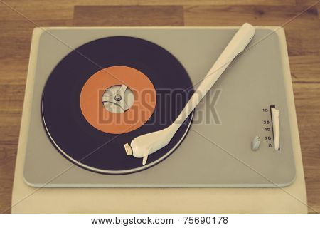 Portable retro record player from the sixties poster