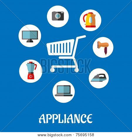 Flat household appliances icons