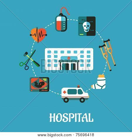 Hospital flat inforgraphic design