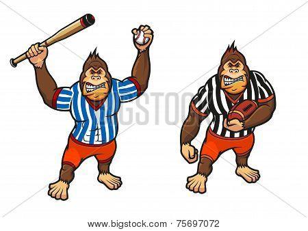 Cartoon gorilla playing baseball and rugby