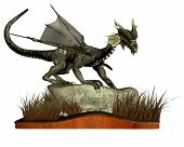 Digital render of a dragon standing on a rock surrounded by long grass. Isolated on a wooden plinth poster