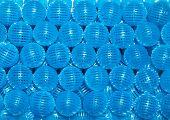Closeup blue bio balls filter in aquarium poster