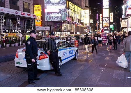 New York, Police Car And Policemen In The Times Square