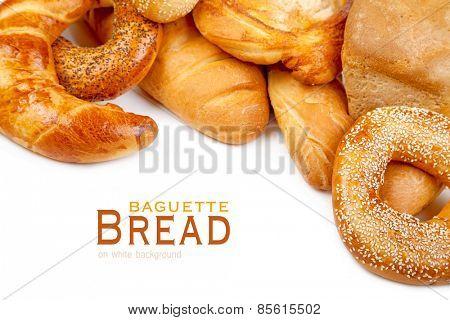 Bread, loaf, baguette, bagel on a white background