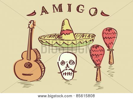 Vector illustration of hand drawn Mexican objects set, sombrero, sugar skull, guitar and maracas