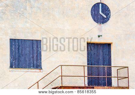 Black Painted Door Window And Clock