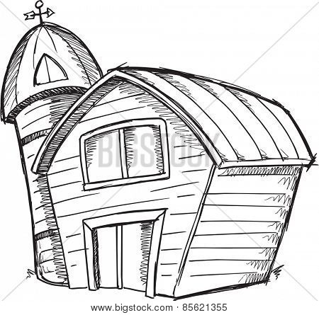 Doodle Sketch Barn Vector Illustration Art