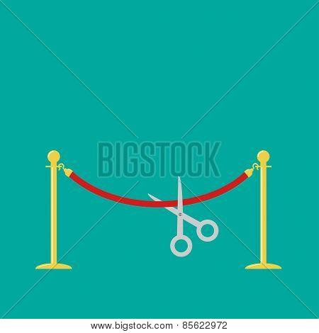 Scissors Cutting Red Rope Golden Barrier Stanchions Turnstile Flat Design
